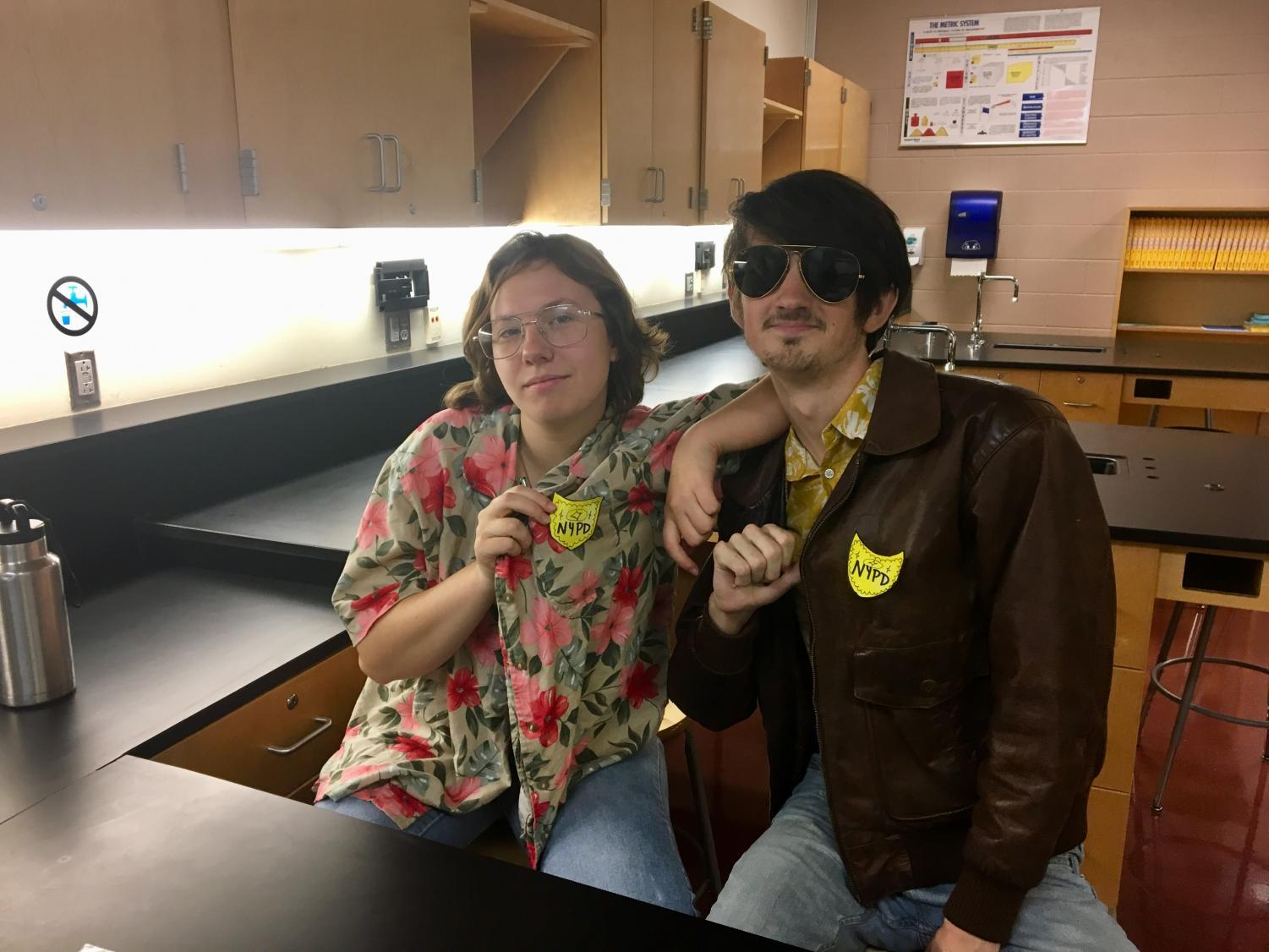 Mandy Schulien and Liam Trishman play NYPD detectives for a forensic science video project.