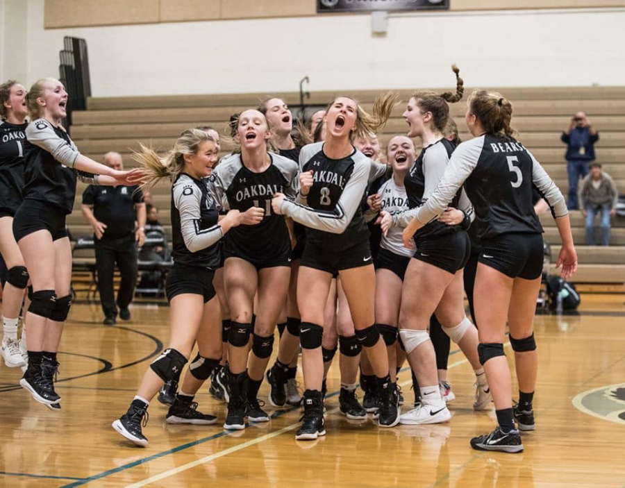 The+girls+volleyball+team+wildly+celebrating+after+beating+Williamsport+for+