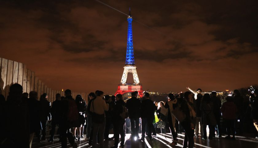 PARIS%2C+FRANCE+-+NOVEMBER+16%3A++The+Eiffel+Tower+is+illuminated+in+Red%2C+White+and+Blue+in+honour+of+the+victims+of+Friday%27s+terrorist+attacks+on+November+16%2C+2015+in+Paris%2C+France.+Countries+across+Europe+joined+France+today+to+observe+a+one+minute-silence+in+an+expression+of+solidarity+with+the+victims+of+the+terrorist+attacks%2C+which+left+at+least+129+people+dead+and+hundreds+more+injured.++%28Photo+by+Christopher+Furlong%2FGetty+Images%29