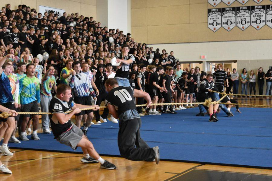 Students had a great time cheering on the classes during the tug of war contest at the pep rally on Friday.
