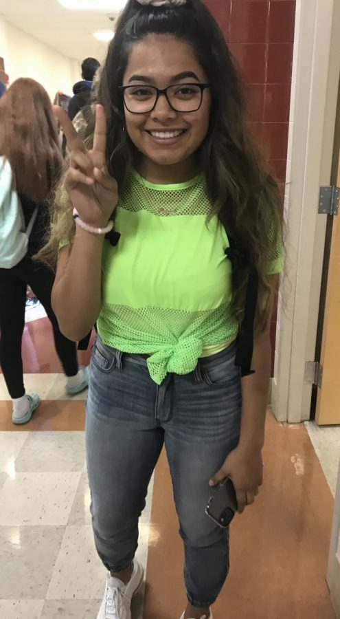 Junior Brittany Sanchez getting into character for throwback day!