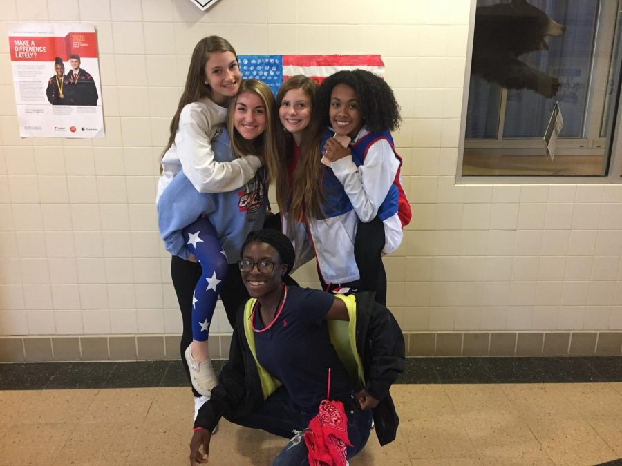 (Left to Right) Josie Boonshaft, Sydney Valley, Idia Brown, Abby Updike, Jessica Brown, on America Monday!