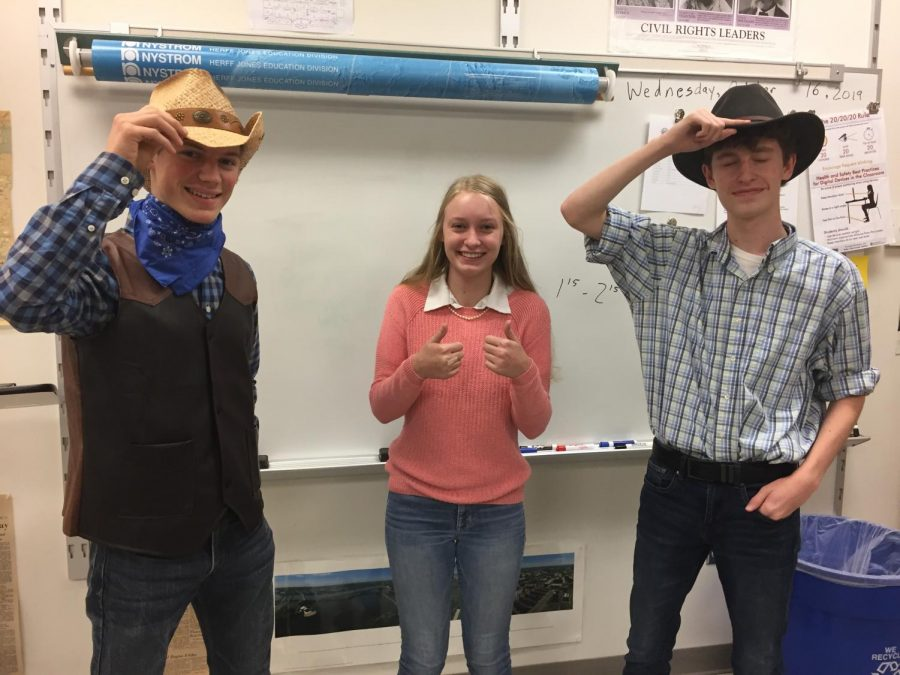(Left to Right) Tyler Campbell, Shannon Roth, and Hayden Hauptan show off their prep and country pride in history class!