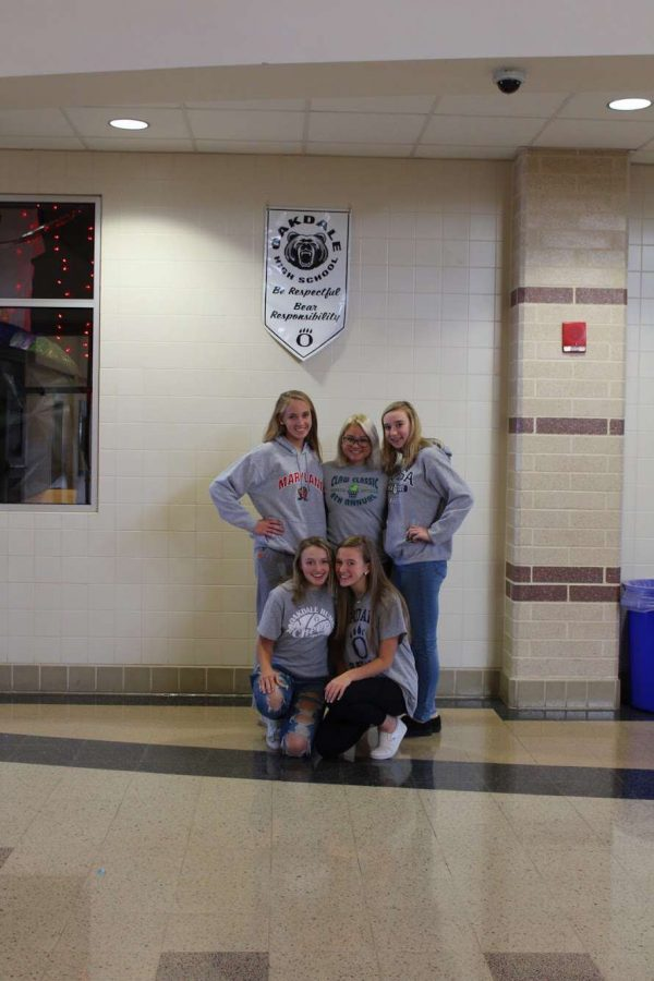 (Left to right) Sophomores Hannah Lebo, Claire Segura, Kate Hollenbeck, Evelyn Shultz, Sophia Kutchi proudly wearing grey for the sophomore class!