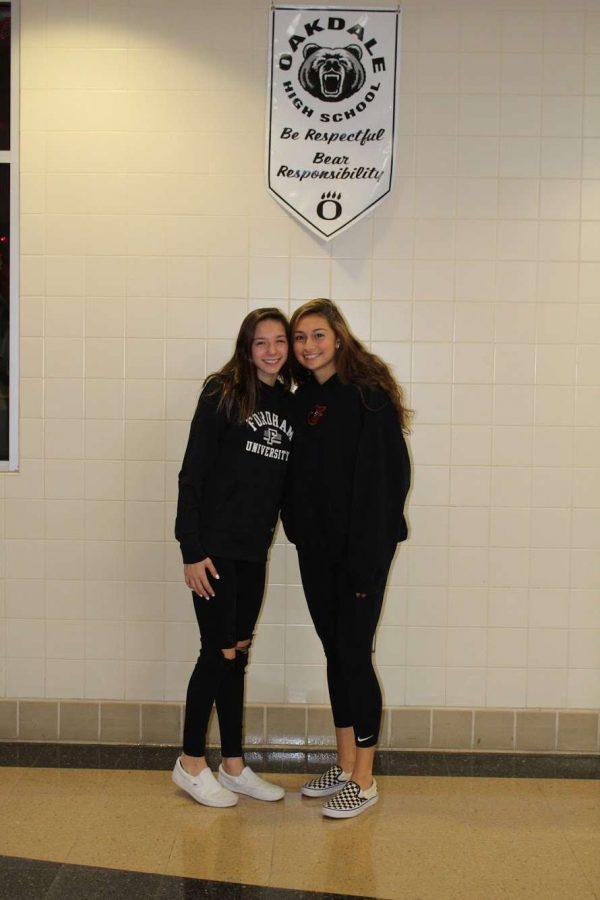 (Left to right) Juniors Julia Doolittle and Alyssa Perando wear black for the junior class!