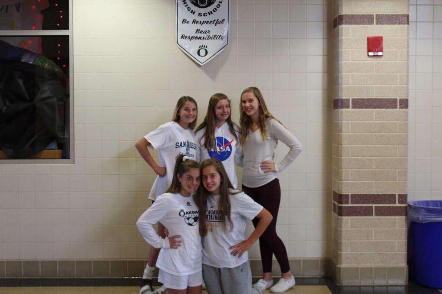 (Left to right) Freshmen Courtney Lindstedt, Kelly Banks, Abby Coblish, Sam Gregorio, Hannah sherman