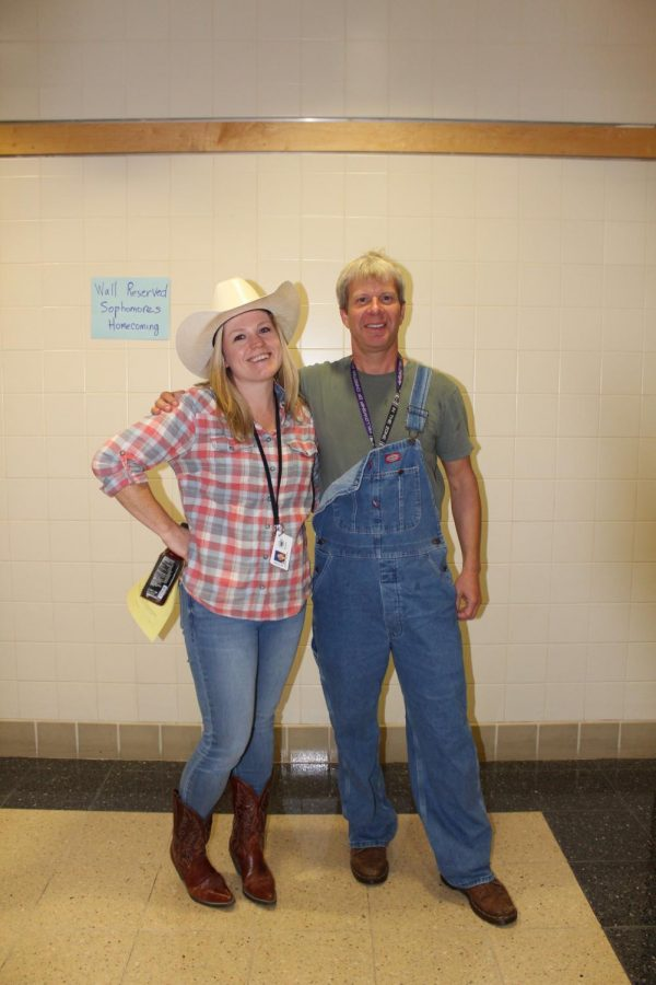 Mrs. Miller poses with Mr. Lillard showing off their country pride!