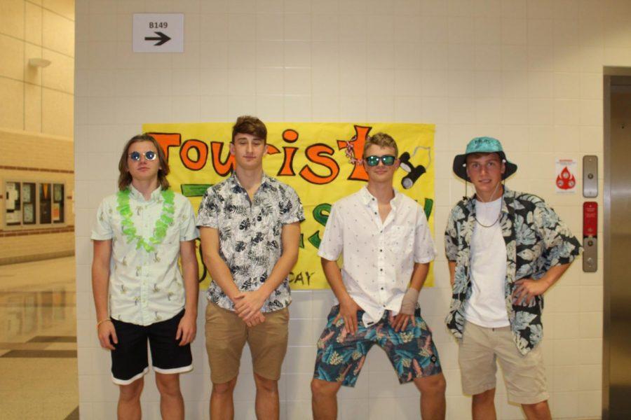 Juniors Ethan Daiger, Alex Gudat, Riley Roosa, and Josh Boonshaft enjoy Tourist Tuesday.