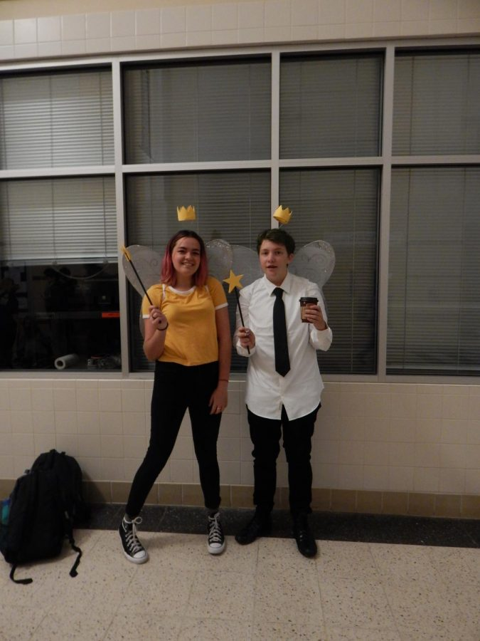 Paige Detwilier and Hayden Davis dressed as Wanda and Cosmo from Fairly Odd Parents, a cartoon originally played on Nickelodeon. They represented the cartoon fairies by each wearing a set of wings, a wand, 'floating' crowns, and coloring their hair.