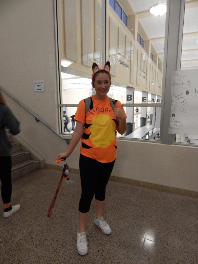 Sydney Katz sported the look of Tigger from Winnie the Pooh. Like other students, Katz had her shirt painted in order to match her character as closely as possible.