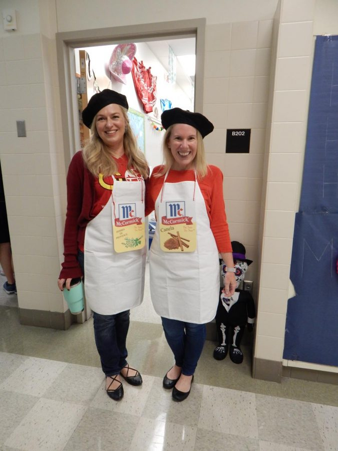 """Language teachers Ms. Quill and Ms. Brown dressed as """"spice girls"""", making a fun play on words. Quill was the spice, Herbes of Provence and Brown was Canela. The teachers organized their costumes days in advance in order to perfect the look."""