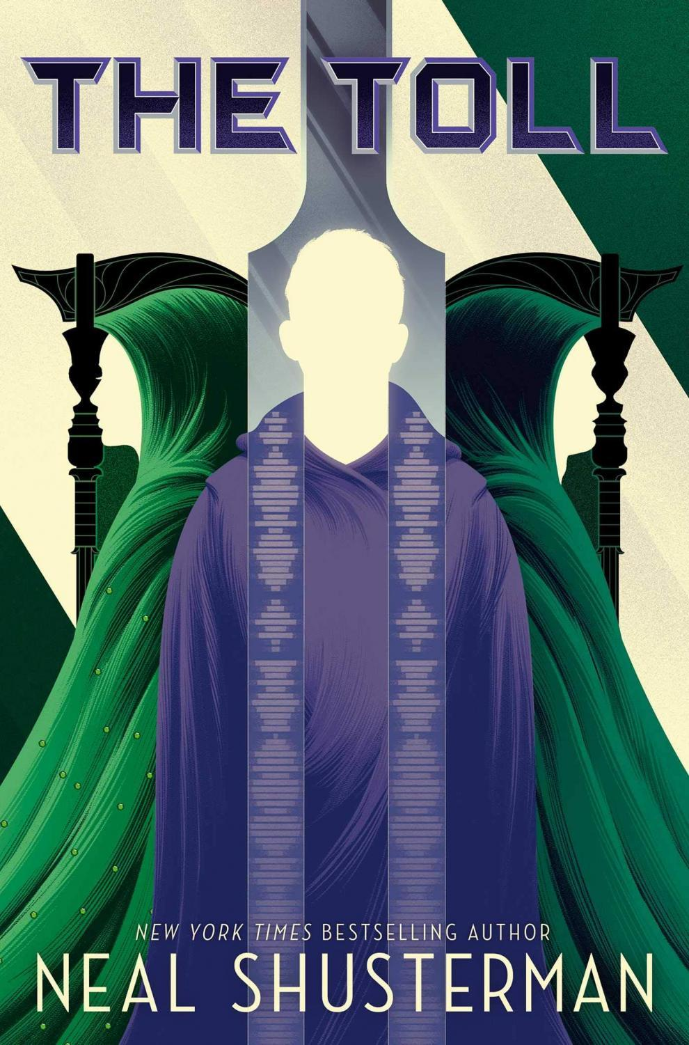 The cover for the third book in The Arc of the Scythe series, The Toll by Neal Shusterman.