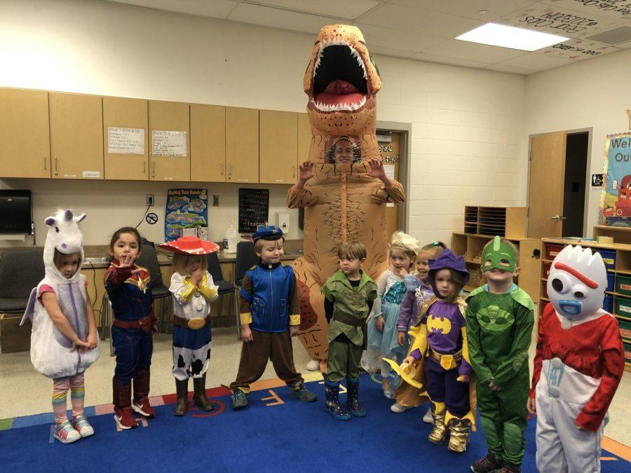 Preschoolers in Child Development are able to go classroom-to-classroom to trick or treat for Halloween. They dressed up as their favorite characters and received candy from each teacher in the school.