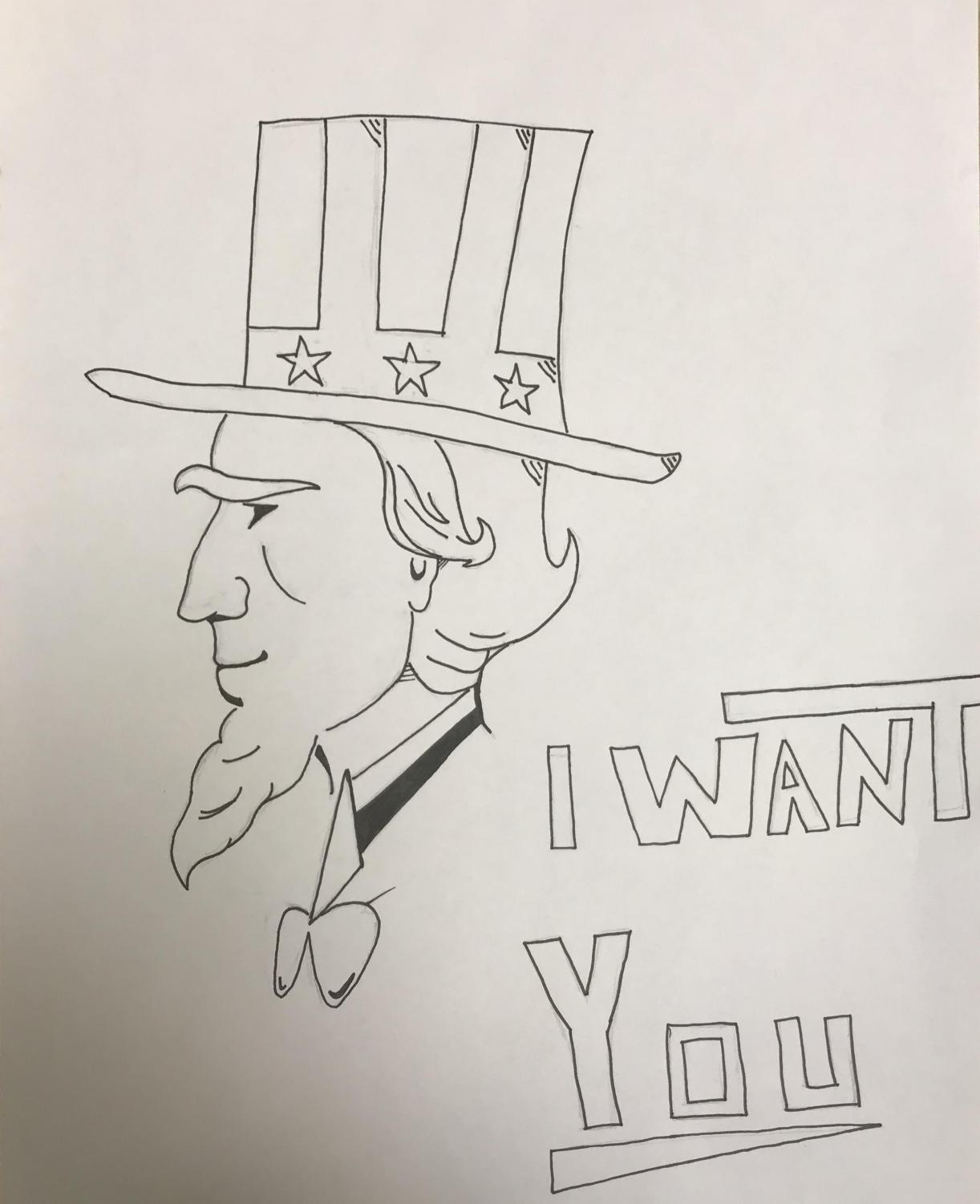 """Uncle Sam accompanied with the slogan """"I want you"""" was a popular way to try and recruit soldiers for World War 1 and 2."""