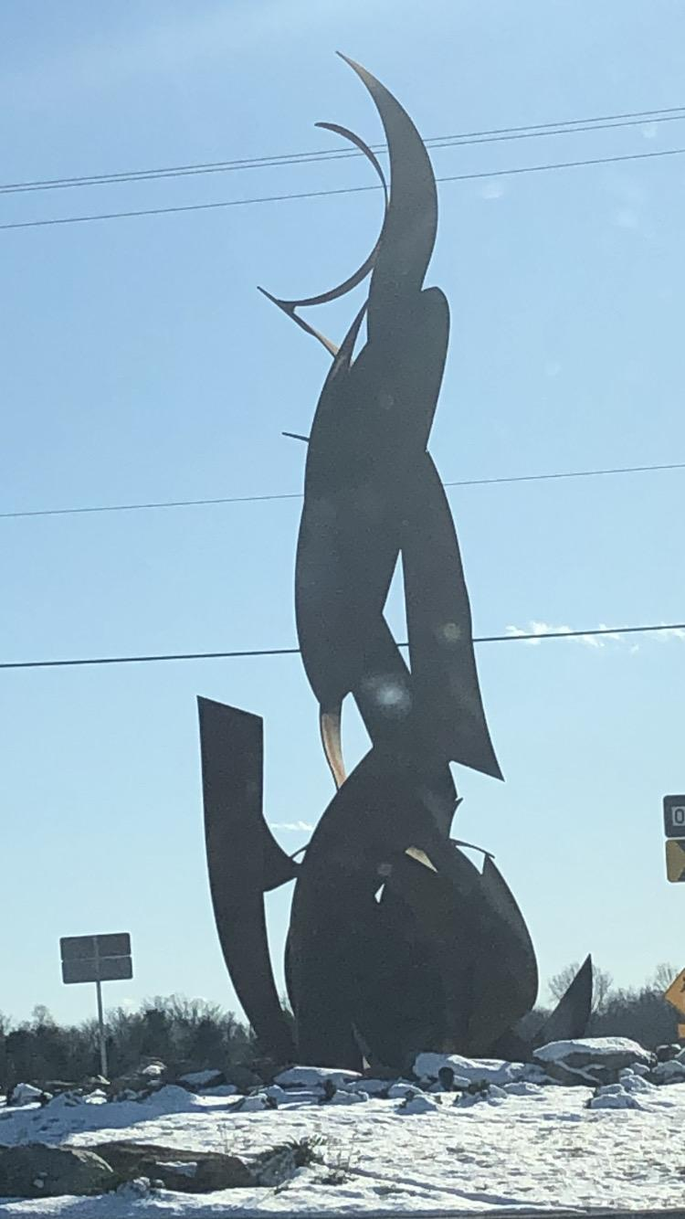 """Seen above is the """"Campfire"""" sculpture created by Joshua Wiener."""