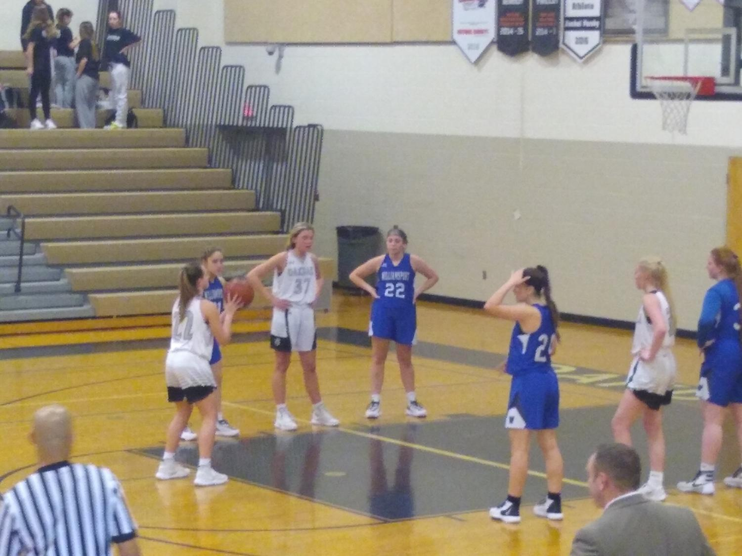 Point guard Nikki Etchison takes two free throws in the fourth quarter to save the game.