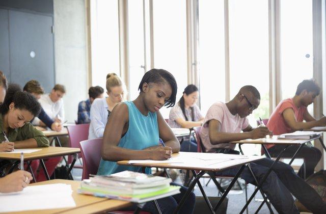 Students taking the AP Psychology exam.