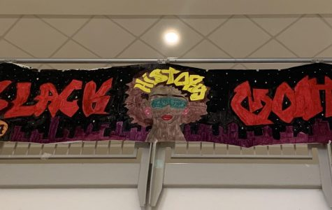 Banner hung by Oakdale's Multicultural Club for Black History Month.
