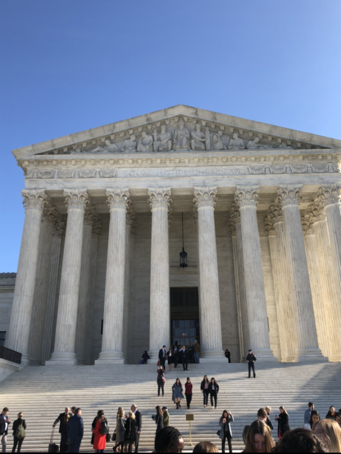 The front of the Supreme Court House, during the field trip the Law & Society class took.