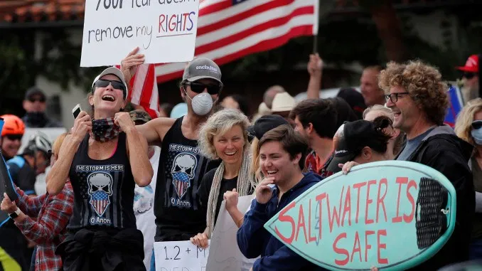 An anti-quarantine protest in California on April 18, 2020.