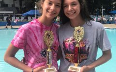 Morgan and Julia Doolittle pose with their trophies after a dive meet over the summer.