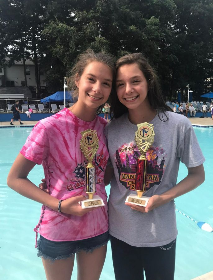 Morgan+and+Julia+Doolittle+pose+with+their+trophies+after+a+dive+meet+over+the+summer.%C2%A0