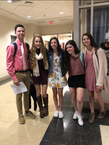 Seniors Owen McFarland, Hayley Ross, Julia Doolittle, Aubrey Linthicum, and Morgan Doolittl after last year's induction ceremony.