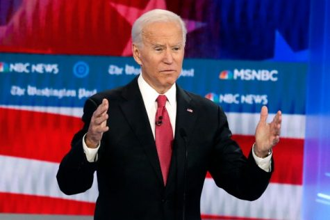 President-Elect Joe Biden speaking at one of the Presidential Debates.