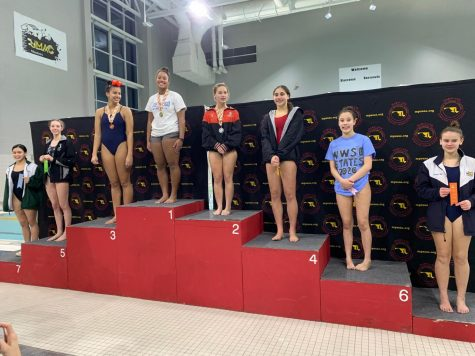 2020 Diving State Champions pose for a picture on the podium including Oakdale Diver, Julia Doolittle