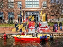 Maryland themed boat in Carrol Creek.