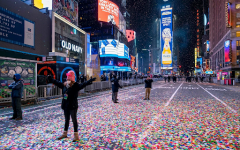 A usually packed Times Square left empty besides a few on one of their busiest nights of the year.