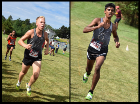 Oakdale captains Abhishek Muddireddy(right) and Reed Fliegel(left) as they crossed the finish line, placing 3rd and 7th in Oakdale's division respectively.