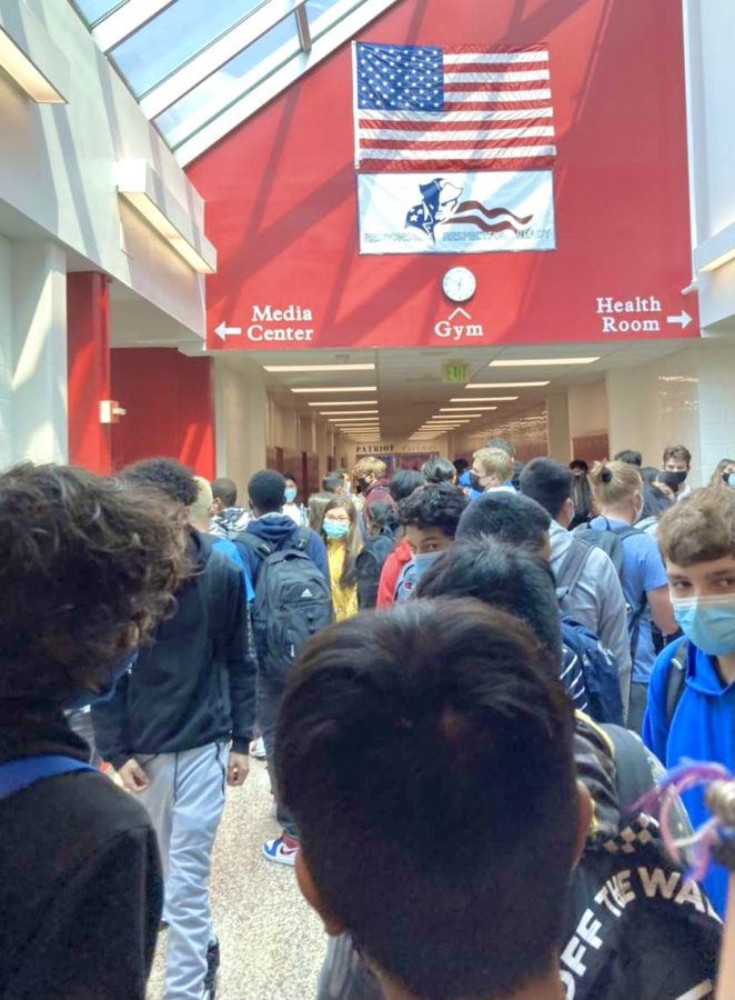 The students at TJ have no room to move around in the hallways.