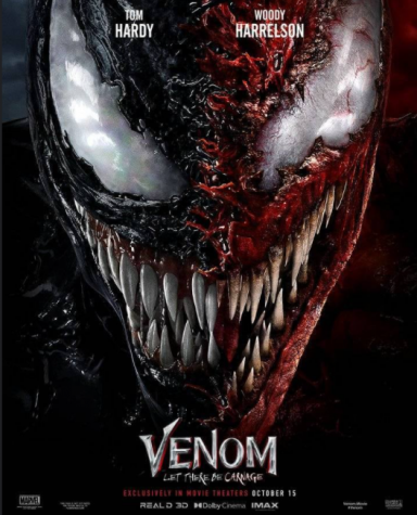 A promotional poster depicting a classic half-Venom, half-Carnage symbiote face. The release date listed on the poster is October 15, but the movie's release was changed once again by Sony to October 1st after the explosive Labor Day success of Marvel Studios Shang Chi.