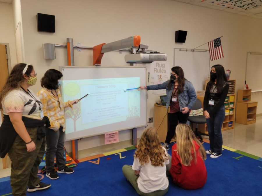 Child+Development+1+students+Jocelyn+Gettys%2C+Sydney+Kubic%2C+Kasey+Griffin%2C+and+Naomi+Castillo+practicing+their+presentation+for+daily+circle+time+at+the+start+of+the+preschool+day.