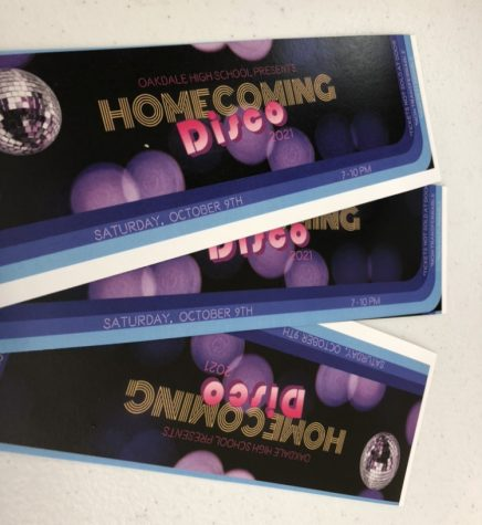 """Pictured above are three of the tickets on sale for this years """"Homecoming Disco"""""""
