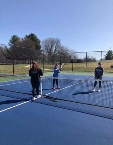 Students practicing their tennis skills at Brunswick High School!